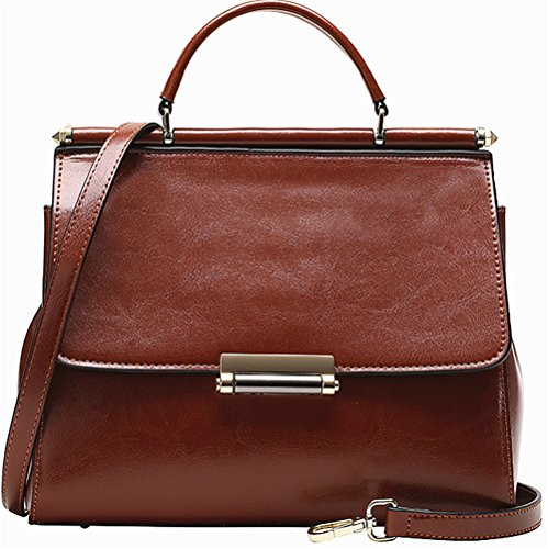 Xinmaoyuan Borse donna borsette in cuoio cera olio Kraft borsetta Fashion Ladies tracolla messenger Piccola Piazza Borsa Brown