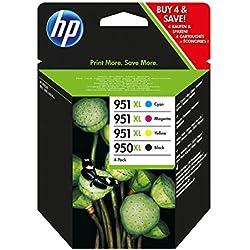 HP 950-951XL - Pack de ahorro de 4 cartuchos de tinta Original HP 950XL Negro, 951XL Cian, Magenta, Amarillo para HP OfficeJet Pro 251dw, 276dw, 8100, 8600, 8600 Plus, 8610, 8615, 8620