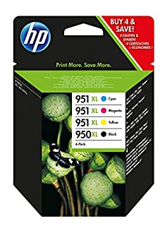 HP C2P43AE 950XL/951XL Cartucho de Tinta Original, 4 unidades, negro, cian, magenta y amarillo (B00D145OYY) | Amazon price tracker / tracking, Amazon price history charts, Amazon price watches, Amazon price drop alerts