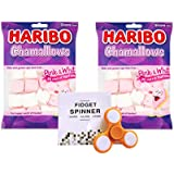 M.M.Enterprise. Haribo Chamallows Pink and White Marshmallows, 140g - Pack of 2 and Free 1 LED Light Fidget Spinner