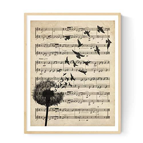 """Druck Plakat """"Löwenzahn"""" Vintage Partituren. Illustration auf Alten Noten. Perfekt für Musikliebhaber. A3 Größe"""