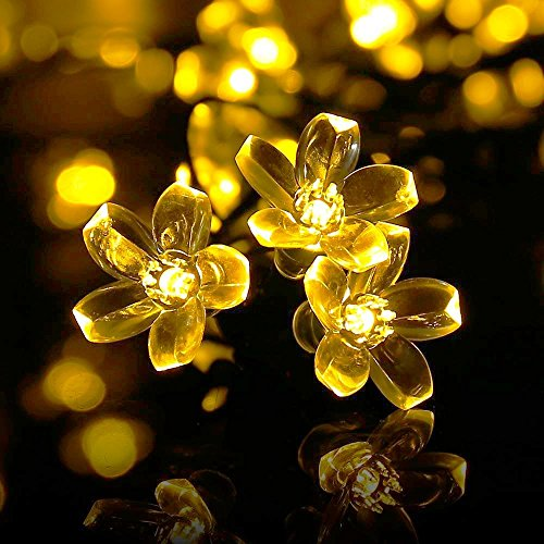 Addobbi Natalizi Luci.Qedertek Luci Natale Esterno Solare Luci Albero Di Natale 7m 50 Led Luci Natalizie Impermeabile Ip65 Da Esterno Ed Interno Fiore Di Luci Bianco