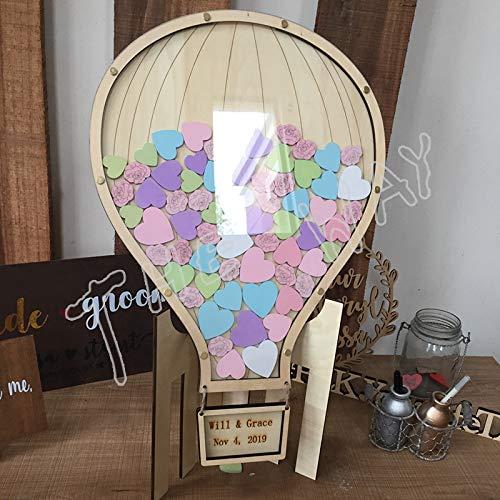 HUNLIBU Nachricht Buch Hochzeit Benutzerdefinierte Ballon aus Holz Signatur Knoten Hochzeit Geburtstag Party Dekoration Mason Zeichen im Baum Tabelle Flasche Persönlichkeitseigenschaften, 55x65cm