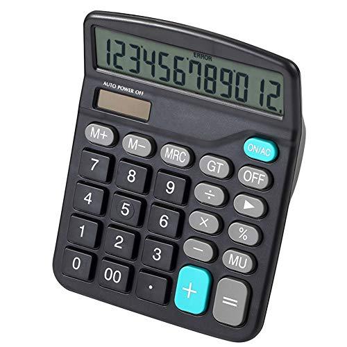 CHENG Bürorechner Basic, Tischrechner 12-Stellig Solarbatterie-Basisrechner Dual Power Büro-Rechner Mit Einem Großen LCD-Bildschirm Geeignet Für Büro-Arbeit