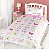 NEW Rapport Fly Up High Butterfly Childrens Single Duvet Cover - White/Pink