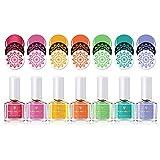 BORN PRETTY Candy Farbe Nagel Polieren Kit Nagellack Bunte Nagelkunstplatte Druck Polnisch 7 Flaschen