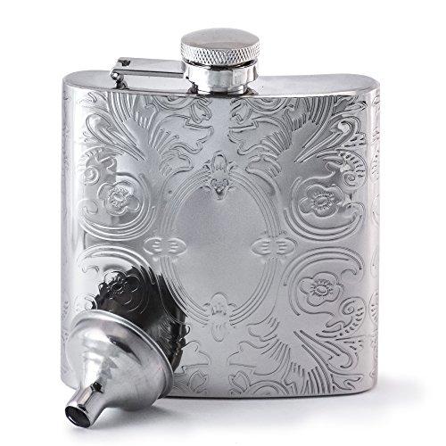 (PERFECT PREGAME Verspiegelter Flachmann mit Calico-Muster – Coole Edelstahl Alkohol-Trinkflasche - Taschenflasche Für Männer und Frauen – Taschenflachmann - Inklusive Trichter)