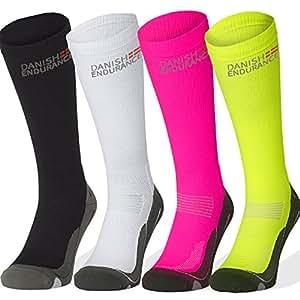 Chaussettes de Compression de DANISH ENDURANCE (Blanc - 1 Paire, EU 35-38 // UK 3-6)