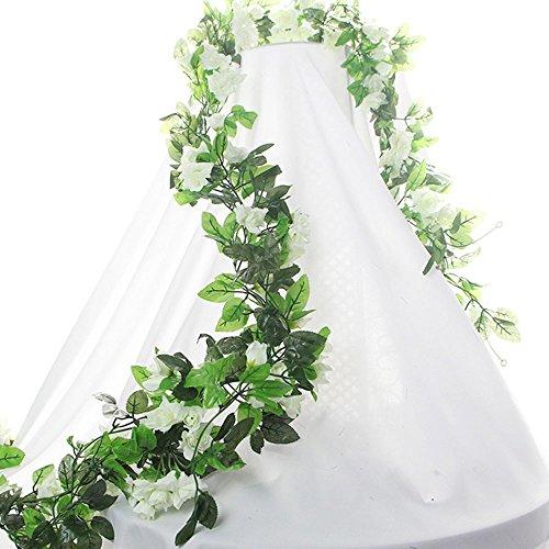 BlueXP 2 Pack 230cm Guirnalda de Flores Artificiales Imitación de Seda Falsa para Decoración de Bodas Decoración del Hogar Rosas Hiedra y Vino Blanco
