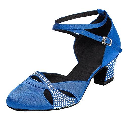Minitoo Absatz grob, Satin-Tanzschuhe Blau