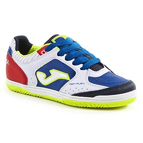 Joma TOP FLEX Indoor–Chaussures de football de salle pour homme Bianco-Blu-Rosso