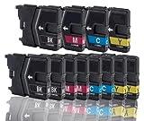 12 Druckerpatronen Kompatibel zu Brother LC985 , LC-985 BROTHER DCP-J125 DCP-J140W DCP-J315 DCP-J315W DCP-J515W (BK/C/M/Y)