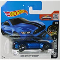 FORD SHELBY GT350R Hot Wheels 2016 Night Burnerz Series Sporty Blue Shelby 1:64 Scale Collectible Die Cast Metal Toy Car Model #7/10 on International Short Card by California-Toys.com
