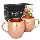 Mavanto Moscow Mule Kupfer-Becher 2er Set + 11 eBook Rezepte | Handgemacht | 100% Kupfer für erfrischend kühle Drinks