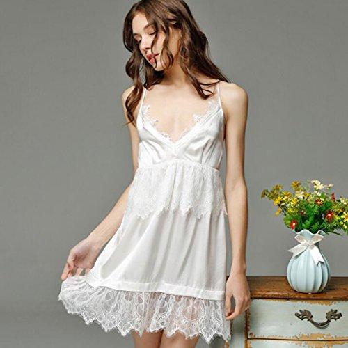 it Taschen Bademantel ---- Sommer- Schlinge Tiefer V-Kragen Sexy Seide Schlafkleid Weiblich Spaß Polyester Pyjama Hauskleidung --- Lang / Sieben - Punkte / Halbarm Bademantel ( größe : Xl ) (Spaß Frauen Pyjamas)