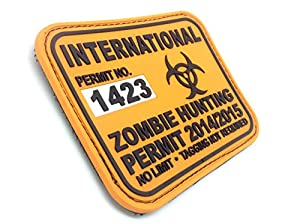 Permis de Chasse de Zombie International Orange PVC Grand Airsoft Velcro Patch