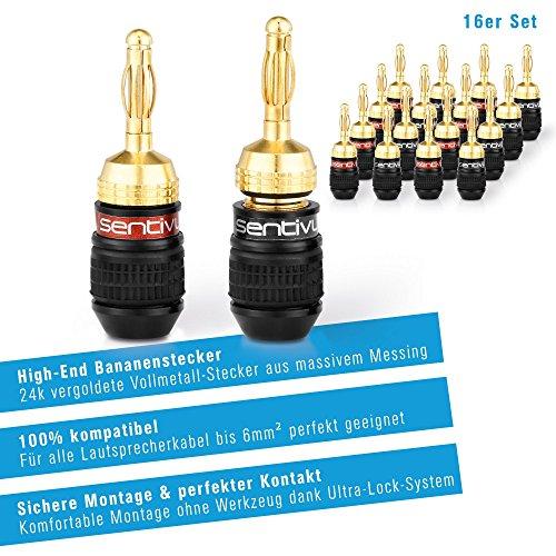 Sentivus 16x HIGH END Bananenstecker 24k vergoldet – für alle Lautsprecherkabel bis 6mm² – 16 Stück (8 Rot, 8 Schwarz) - 3