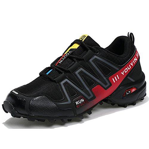 JEDVOO Herren Trekking Wanderschuhe Traillaufschuhe Sneaker Schwarz