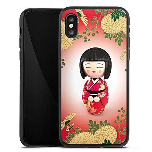 Apple iPhone X Silikon Hülle Case Schutzhülle Kiku Kokeshi Puppe Asien Silikon Case schwarz