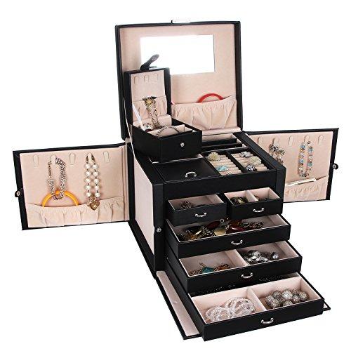 Songmics XXL Schmuckkästchen abschließbar mit spiegel Schublade und Mini-Box 5 Schichten mit 5 Schubladen Schwarz JBC05B - 2