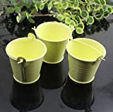 yontree 10 Pcs Colourful Mini Metal Bucket Candy Bonbonnière Wedding Cake Stand Mini Bucket Decoration yellow