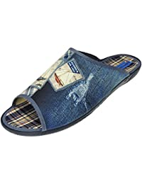 Para hombre Velour Mule textil suela zapatos de rayas cómodo casa O88RY