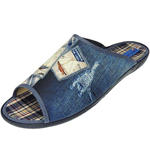 Haisum Hombre Lujo Interior Verano punta abierta cuero de imitación Pantuflas Zapatillas RgWIro
