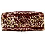 Guru-Shop Orient Bordüre, Indisches Webband mit Blüten 4 cm Breit, 1 m - Dunkelrot, Polyester, Webbänder, Bordüren
