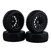 BQLZR Black RC 1:10 Wheel Rim Rubber Tyre Tires for On-Road Racing Car Short Truck Pack of 4