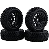 BQLZR Hobbies - Juego de 4 ruedas de goma para coche teledirigido todoterreno 1:10, color negro