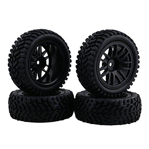 BQLZR Schwarz RC 1:10 Felge Gummireifen Reifen für On-Road Rennwagen Short Truck Pack von 4