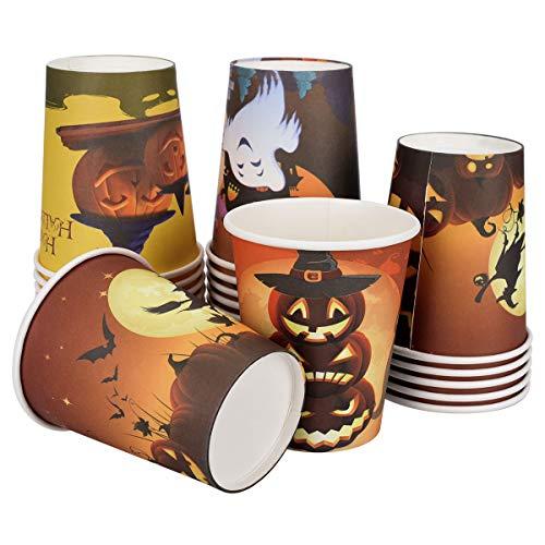 (X-Mile Einweggeschirr Pappbecher - Halloween Kürbis Party deko - Papierbecher Partybecher Papier Tassen 100 Stück 7oz 200ml)