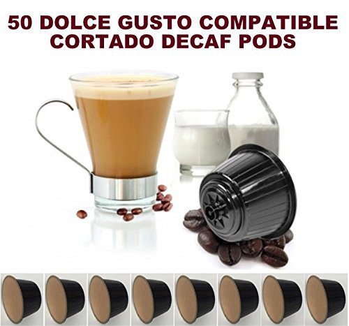 50 DOLCE GUSTO COMPATIBLE CORTADO DECAF DECAFFEINATED COFFEE PODS CAPSULES 51HxhROwodL