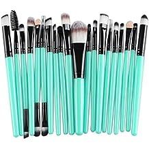 Tongshi herramientas de maquillaje Maquillaje neceser Kit lana hacer arriba cepillo conjunto de 20 piezas (Negro)