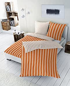 """2-tlg. Renforce Wendebettwäsche Garnitur """"Streifen"""", Größen 135 x 200cm und 155 x 220cm, Farbe: orange Größe 135 x 200"""