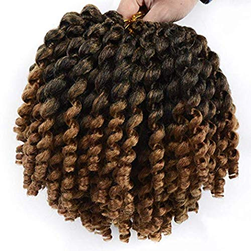 Beauty Supply Haarverlängerungen (Jamaican Bounce Crochet Braids Afrikanische Kollektion Kunstfaser Crochet Braiding Haarverlängerungen Twist Braids Jumpy Wand Spiral Curl Haarverlängerungen 20 Roots/Pack 30# / Medium Brown 10 Zoll)