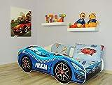 Alcube | Kinderbett Auto-Bett Polizei 160 x 80 cm | mit Rausfallschutz, Lattenrost und Matratze
