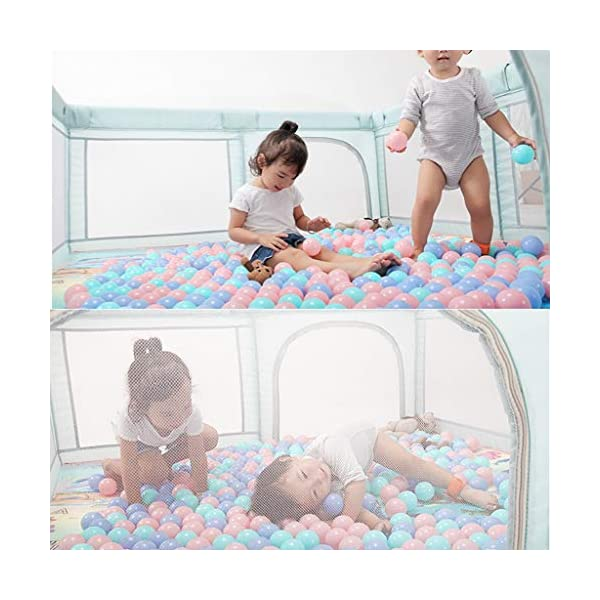 Playpens Game Fence Game Children's Toy Pool Indoor Game Bed Indoor Playground Kid's Play Area Safety Fence (Color : Green, Size : 160x200x70cm) Playpens  3