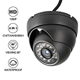 Dericam Caméra de sécurité dôme 1080p 1920TVL, Caméra analogique HDCVI/HDTVI/AHD/960H, Boîtier en métal IP66, Vision Nocturne de 25 mètres, Angle de Vision de 85 °, Format vidéo PAL, D2B, Nero