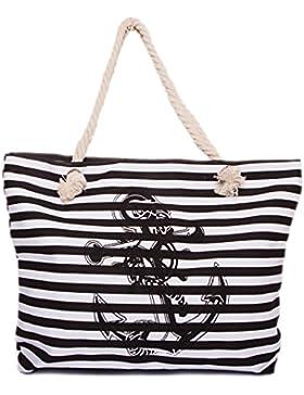 CAPRIUM Strandtasche in Streifen Optik mit Anker, Schultertasche, Shopper, Damen 0009004