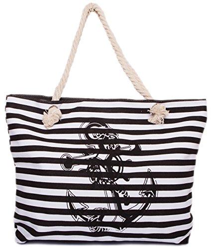 CAPRIUM Strandtasche in Streifen Optik mit Anker, Schultertasche, Shopper, Damen 0009004 (XXL Schwarz) (Strandtasche Gestreifte)
