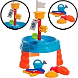 stimo24 Sand & Wasser Spieltisch Sandkasten Tisch für Kinder (Set: 17 Teile)