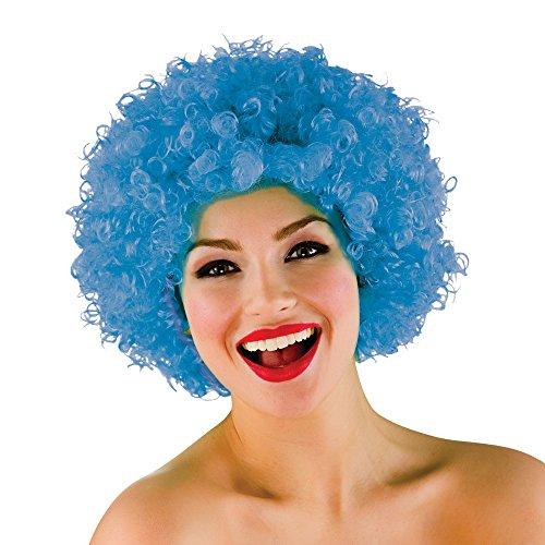Unisex 70er Disko Jackson 5 Funky Afro Clown Halloween Karneval Perücke - Blau