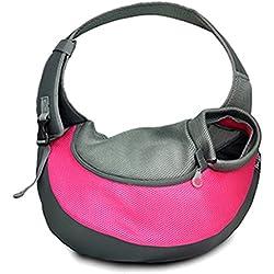 UEETEK Bandolera para Perro Transportín Bolsa de Viaje para Mascotas Bolsa Portador de Perro Bolso de Hombro para Perros Gatos (Rojo de Rose)