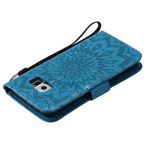 Für Samsung Galaxy S6 Edge Case, Prägen Sonnenblume Magnetic Pattern Premium Soft PU Leder Brieftasche Stand Case Cover mit Lanyard & Halter & Card Slots ( Color : Pink ) Blue
