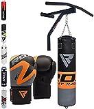 RDX Sacco da Boxe Pelle 5FT Sacchi Pugilato MMA Pieno Terra Base Allenamento Barra Trazioni