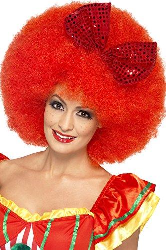 Smiffys, Unisex Mega Afro Clown Perücke mit Satin-Schleife, One Size, Rot, 43270