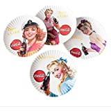 Coca-cola Girls Picnic / Dinner Plate, 9 Inch Melamine, Set of 4 Styles, Red & White by 180 Degrees