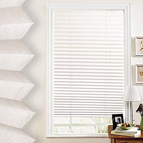 Beige Fenster (SHINY HOME® 60/80/90/100 x 130cm Elegant Verspannt Klemmfix Faltstore Plissee Faltrollo Jalousie Plisseeroll mit Klemmträger ohne Bohren für Fenster - in 4 Größen | Beige | 90 x 130 cm)