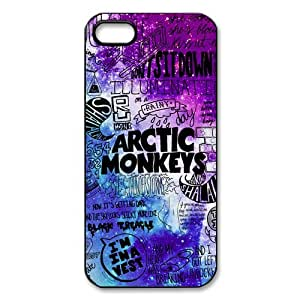 Coque IPhone 5S,Arctic Monkeys Design Coque Étui Housse de Protection pour IPhone 5 5S,Arctic Monkeys Series Coque arrière de protection pour IPhone 5S Noir/Blanc